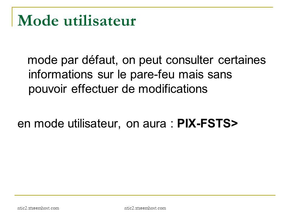 ntic2.xtreemhost.com Mode utilisateur mode par défaut, on peut consulter certaines informations sur le pare-feu mais sans pouvoir effectuer de modific