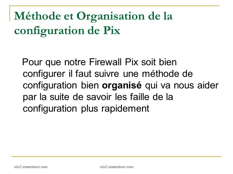 ntic2.xtreemhost.com Méthode et Organisation de la configuration de Pix Pour que notre Firewall Pix soit bien configurer il faut suivre une méthode de