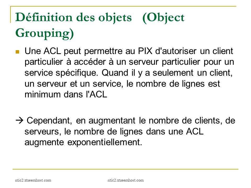 ntic2.xtreemhost.com Définition des objets (Object Grouping) Une ACL peut permettre au PIX d'autoriser un client particulier à accéder à un serveur pa
