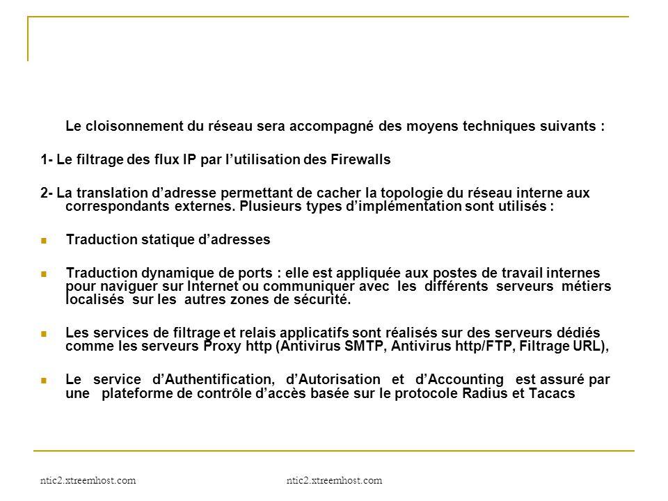 ntic2.xtreemhost.com Le cloisonnement du réseau sera accompagné des moyens techniques suivants : 1- Le filtrage des flux IP par l'utilisation des Fire