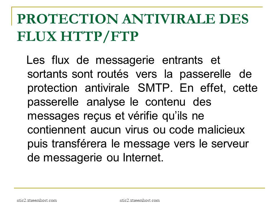 ntic2.xtreemhost.com PROTECTION ANTIVIRALE DES FLUX HTTP/FTP Les flux de messagerie entrants et sortants sont routés vers la passerelle de protection