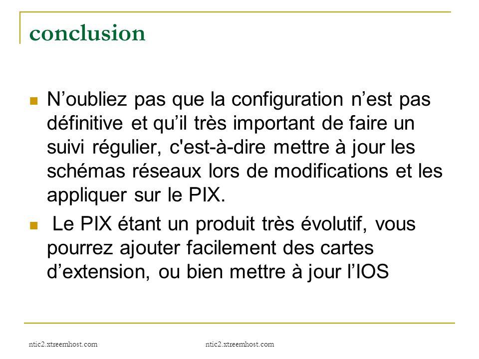 ntic2.xtreemhost.com conclusion N'oubliez pas que la configuration n'est pas définitive et qu'il très important de faire un suivi régulier, c'est-à-di