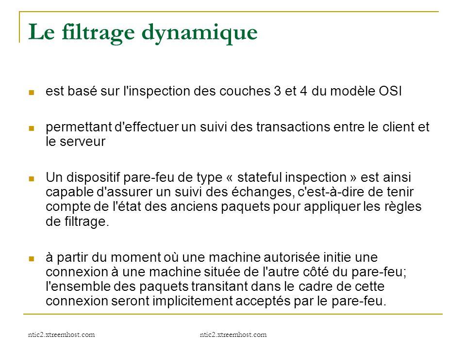 ntic2.xtreemhost.com Le filtrage dynamique est basé sur l'inspection des couches 3 et 4 du modèle OSI permettant d'effectuer un suivi des transactions