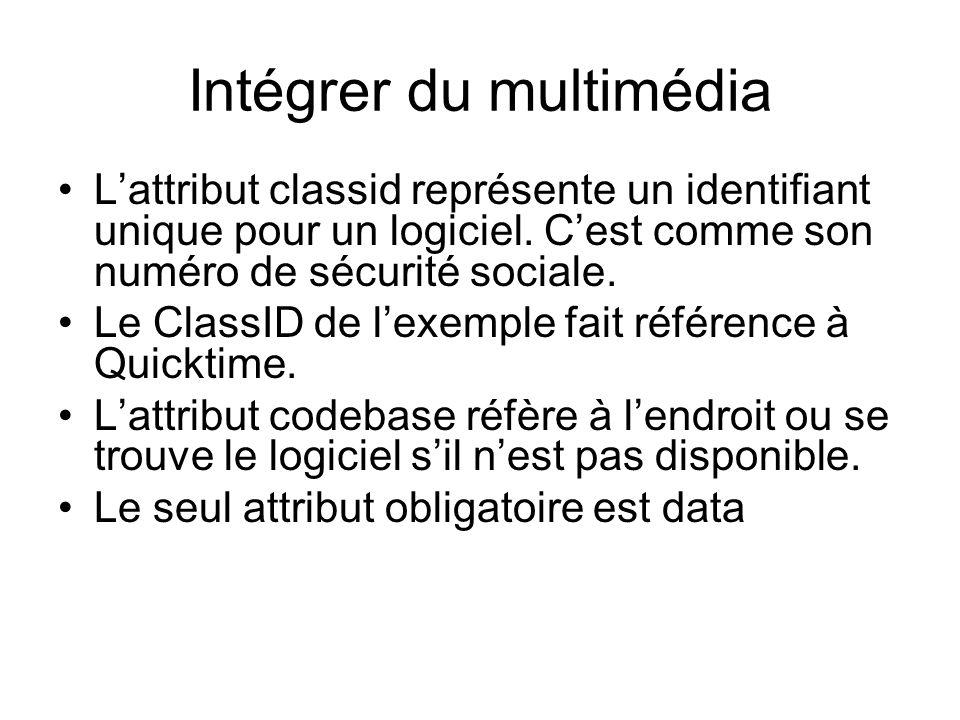 Intégrer du multimédia L'attribut classid représente un identifiant unique pour un logiciel.