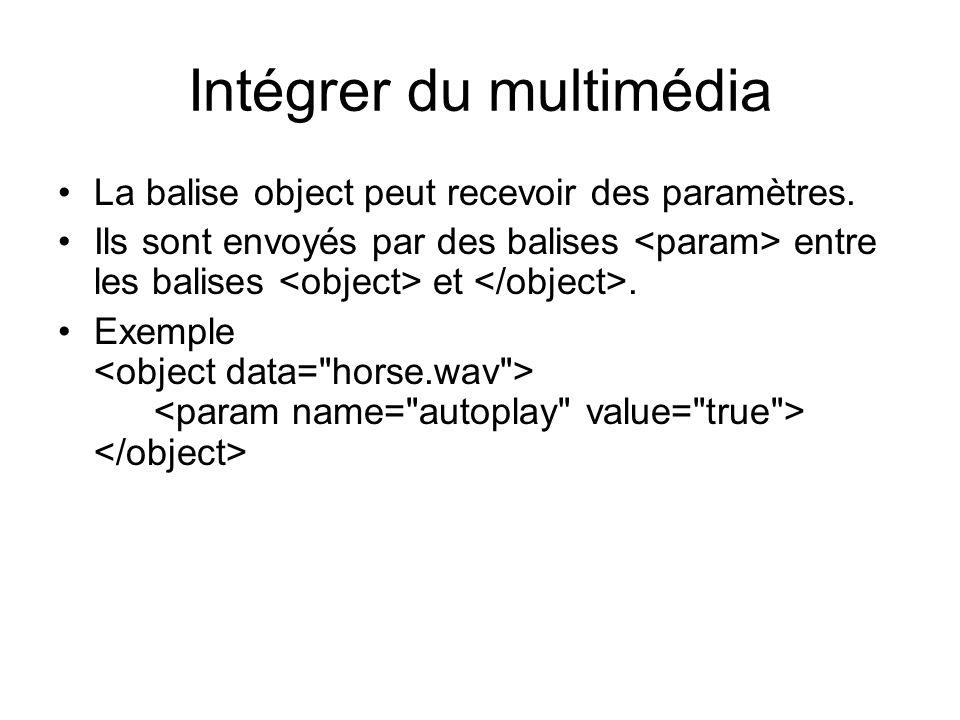 Intégrer du multimédia La balise object peut recevoir des paramètres.