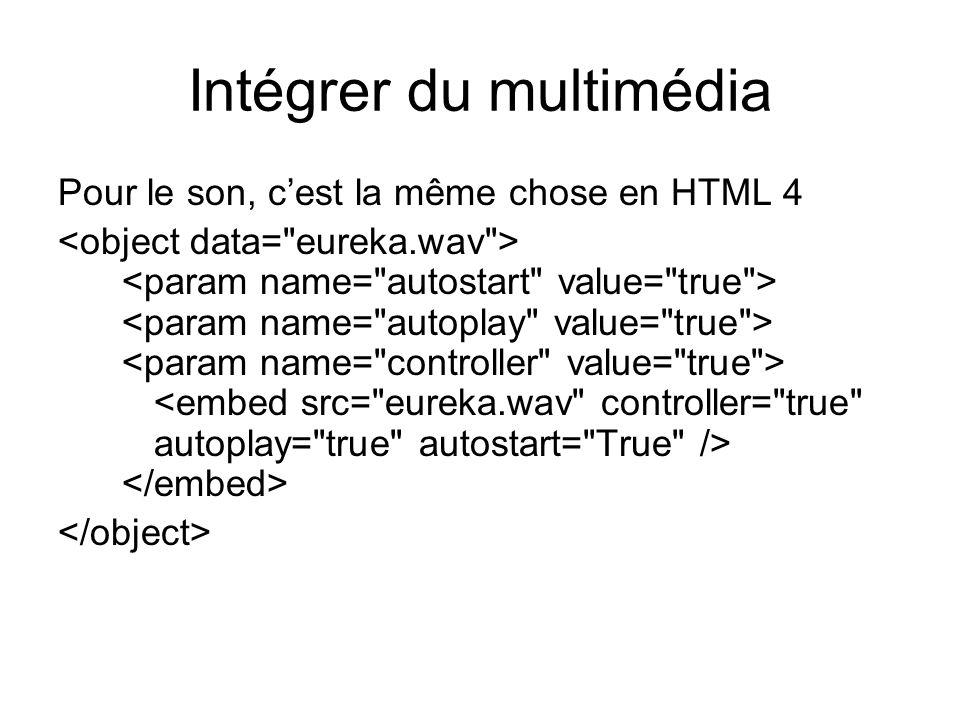 Intégrer du multimédia Pour le son, c'est la même chose en HTML 4