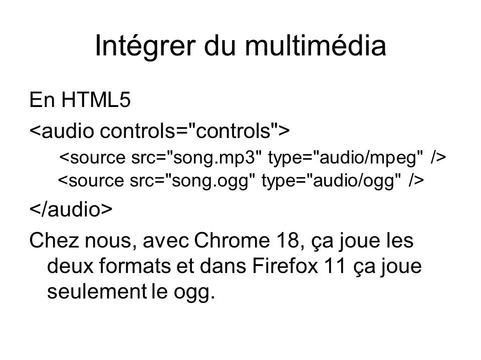Intégrer du multimédia En HTML5 Chez nous, avec Chrome 18, ça joue les deux formats et dans Firefox 11 ça joue seulement le ogg.