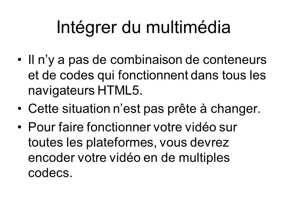 Intégrer du multimédia Il n'y a pas de combinaison de conteneurs et de codes qui fonctionnent dans tous les navigateurs HTML5.