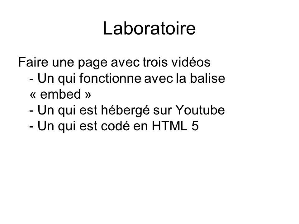 Laboratoire Faire une page avec trois vidéos - Un qui fonctionne avec la balise « embed » - Un qui est hébergé sur Youtube - Un qui est codé en HTML 5