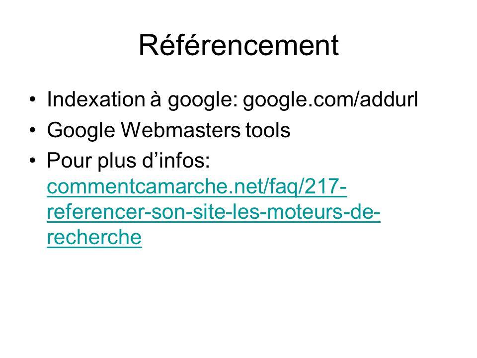 Référencement Indexation à google: google.com/addurl Google Webmasters tools Pour plus d'infos: commentcamarche.net/faq/217- referencer-son-site-les-moteurs-de- recherche commentcamarche.net/faq/217- referencer-son-site-les-moteurs-de- recherche