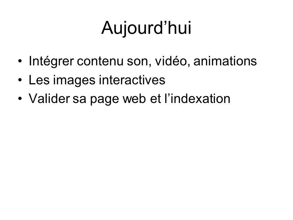 Aujourd'hui Intégrer contenu son, vidéo, animations Les images interactives Valider sa page web et l'indexation