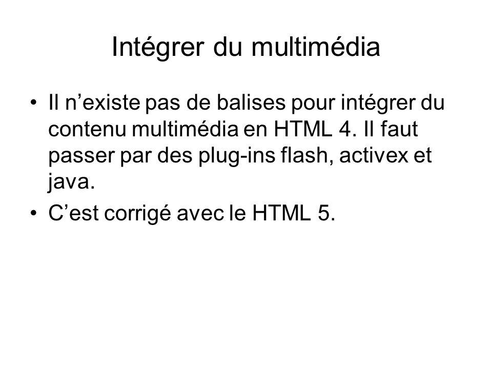 Intégrer du multimédia Il n'existe pas de balises pour intégrer du contenu multimédia en HTML 4.