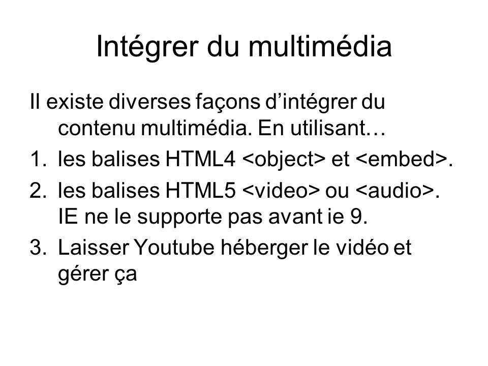 Intégrer du multimédia Il existe diverses façons d'intégrer du contenu multimédia.