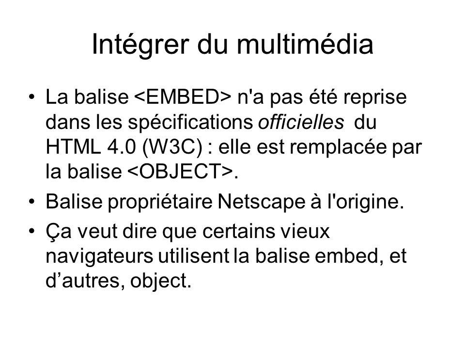 Intégrer du multimédia La balise n a pas été reprise dans les spécifications officielles du HTML 4.0 (W3C) : elle est remplacée par la balise.