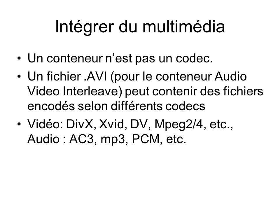 Intégrer du multimédia Un conteneur n'est pas un codec.
