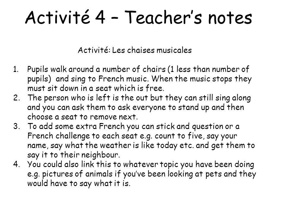 Activité 4 – Les chaises musicales.