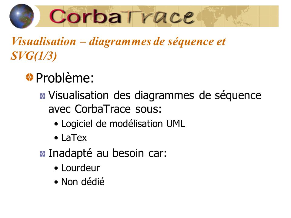 Visualisation – diagrammes de séquence et SVG(1/3) Problème: Visualisation des diagrammes de séquence avec CorbaTrace sous: Logiciel de modélisation U