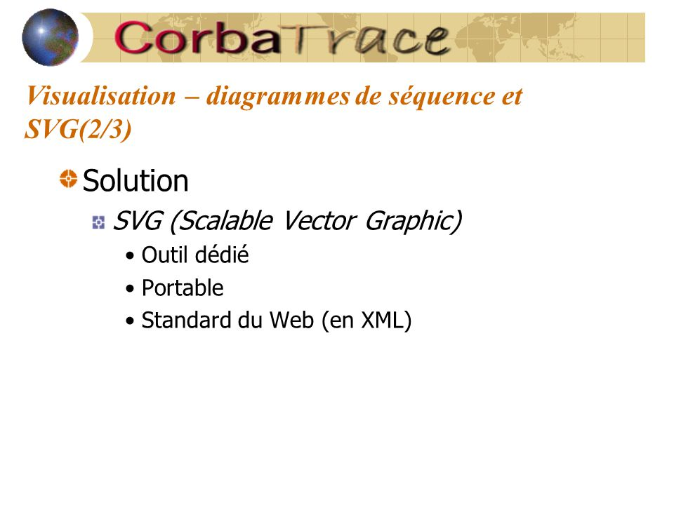 Visualisation – diagrammes de séquence et SVG(2/3) Solution SVG (Scalable Vector Graphic) Outil dédié Portable Standard du Web (en XML)