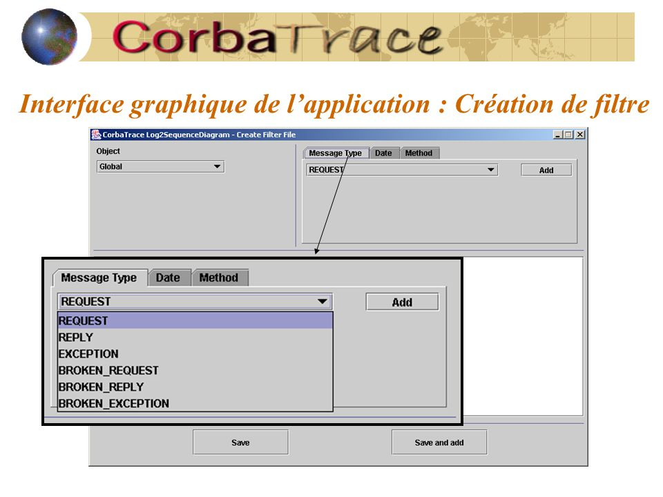 Interface graphique de l'application : Création de filtre