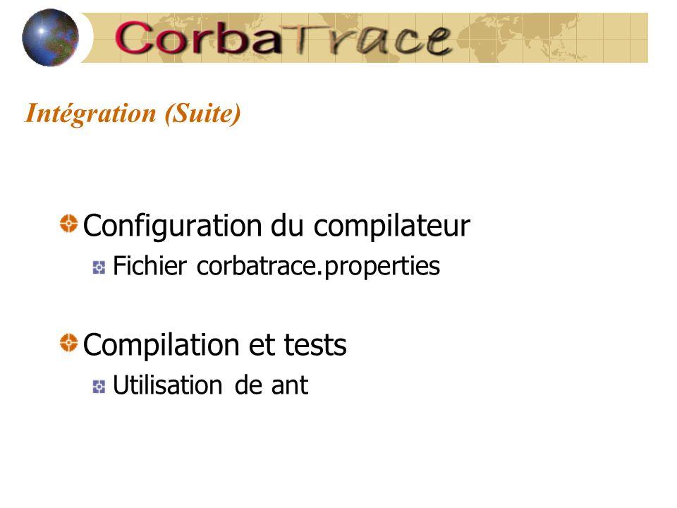 Intégration (Suite) Configuration du compilateur Fichier corbatrace.properties Compilation et tests Utilisation de ant