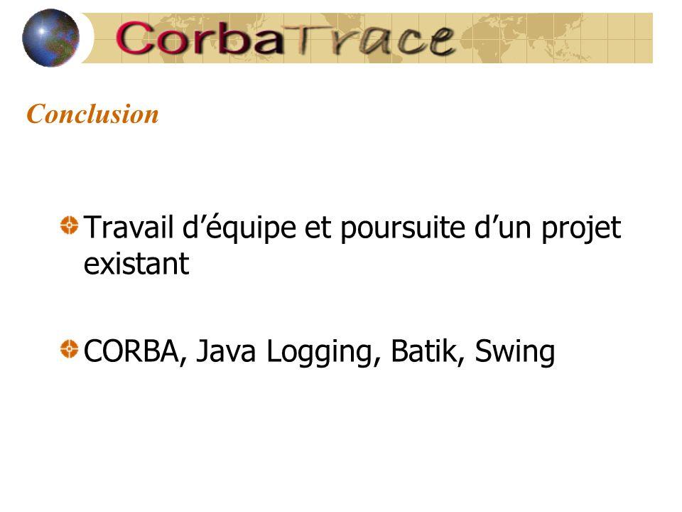 Conclusion Travail d'équipe et poursuite d'un projet existant CORBA, Java Logging, Batik, Swing