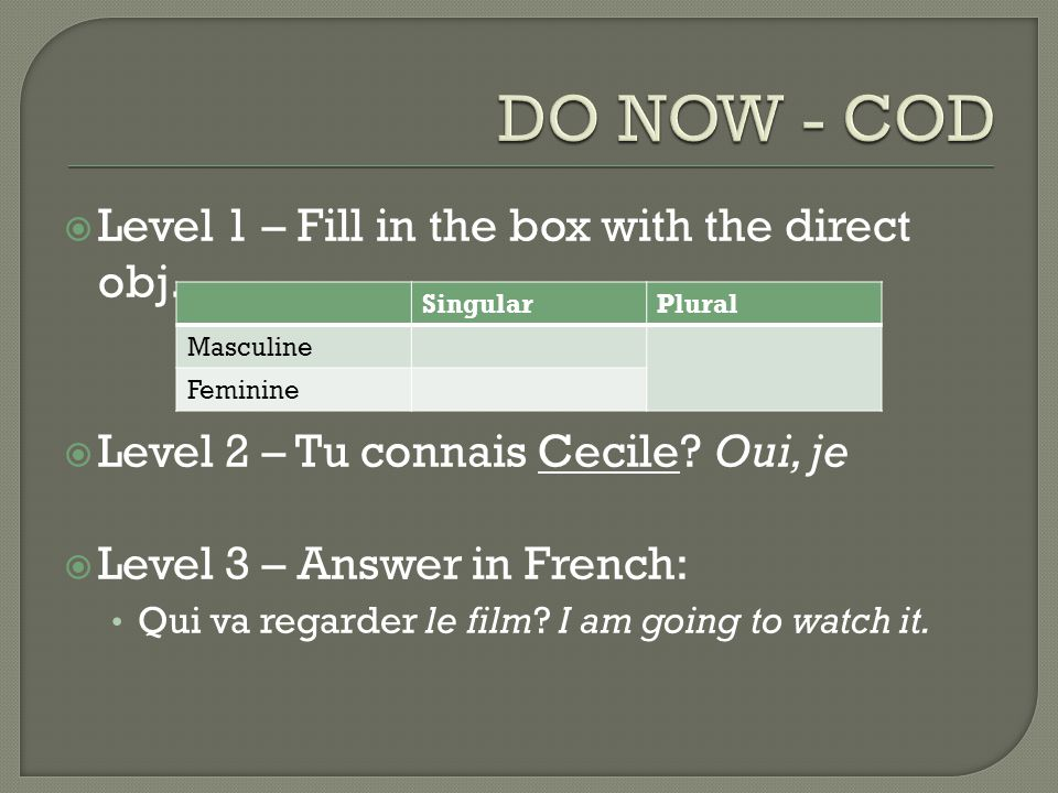  Level 1 – Fill in the box with the direct obj. Level 2 – Tu connais Cecile.