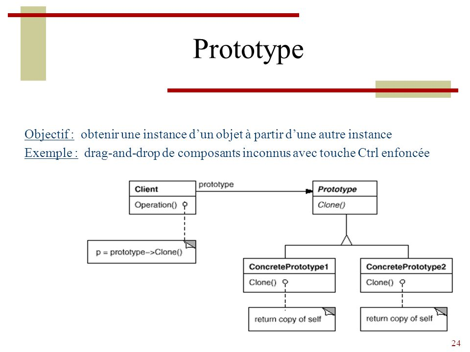 24 Prototype Objectif : obtenir une instance d'un objet à partir d'une autre instance Exemple : drag-and-drop de composants inconnus avec touche Ctrl enfoncée