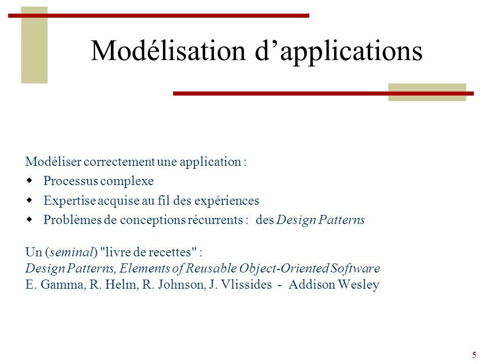 5 Modélisation d'applications Modéliser correctement une application :  Processus complexe  Expertise acquise au fil des expériences  Problèmes de conceptions récurrents : des Design Patterns Un (seminal) livre de recettes : Design Patterns, Elements of Reusable Object-Oriented Software E.