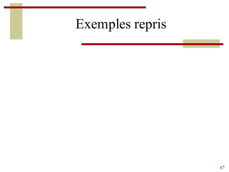 67 Exemples repris