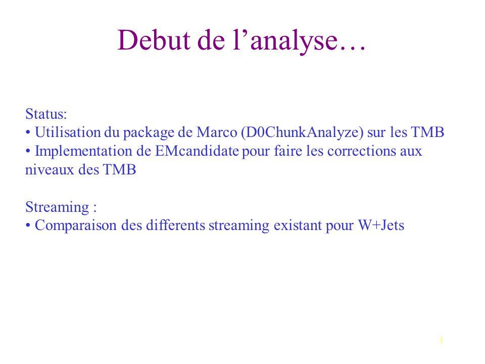 1 Debut de l'analyse… Status: Utilisation du package de Marco (D0ChunkAnalyze) sur les TMB Implementation de EMcandidate pour faire les corrections aux niveaux des TMB Streaming : Comparaison des differents streaming existant pour W+Jets
