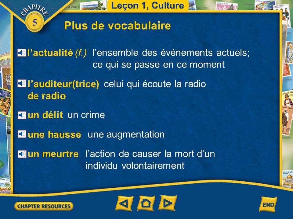 5 Leçon 1, Culture Vocabulaire pour la lecture la signalisation la limitation de vitesse Les conducteurs doivent respecter la limitation de vitesse et