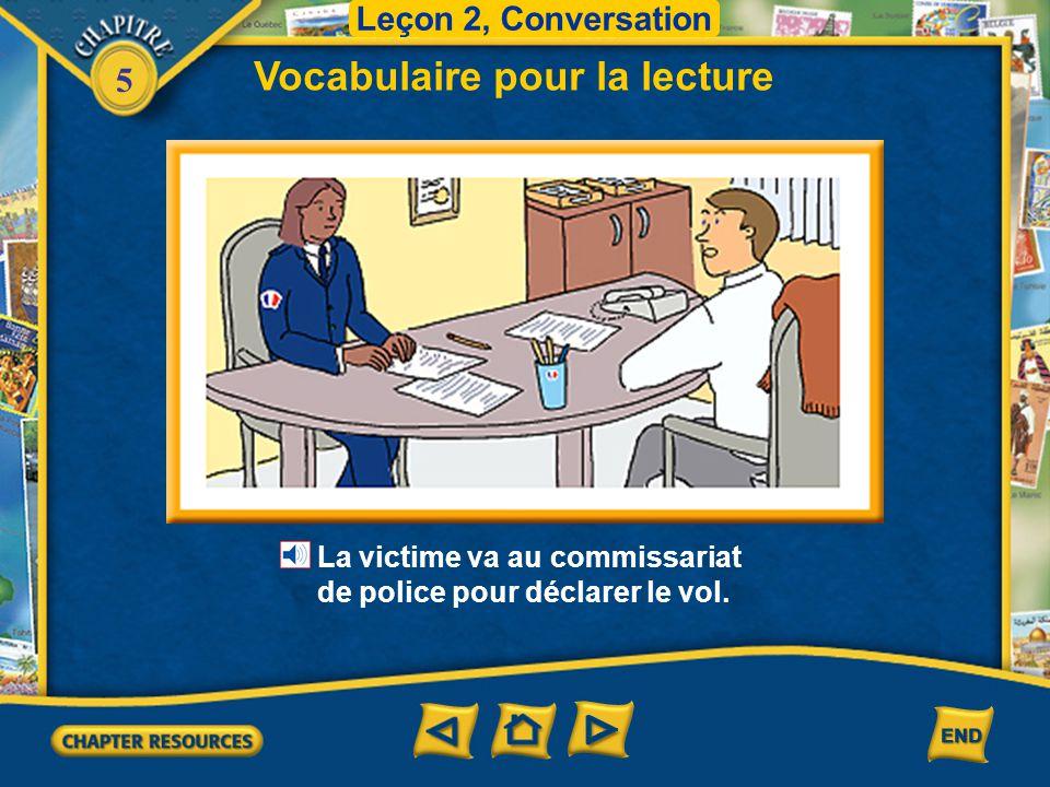 5 Leçon 2, Conversation Vocabulaire pour la lecture un complice un pickpocket Au voleur! Arrêtez-le! une poche Le complice pousse la victime. Et le pi