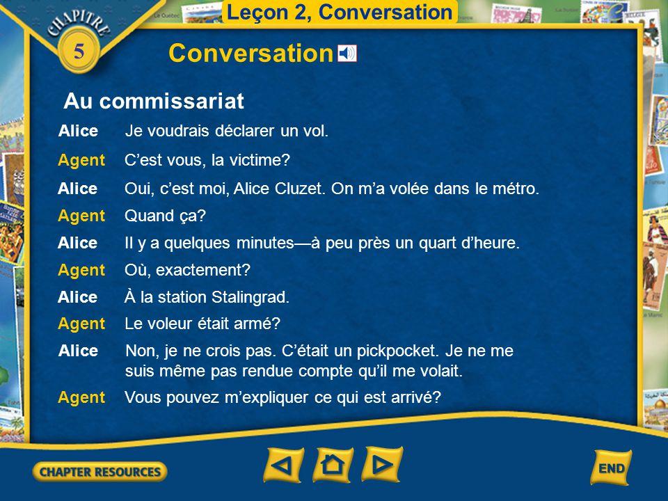 5 Conversation Leçon 2, Conversation Au commissariat