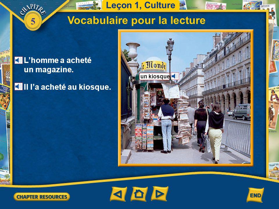 5 Vocabulaire pour la lecture Leçon 1, Culture un journal un gros titre la une une rubrique un magazine
