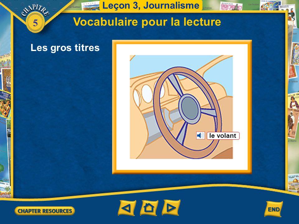 5 Vocabulaire pour la lecture Leçon 3, Journalisme Le garçon a faim. Les gros titres faim