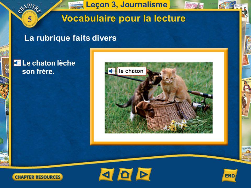5 Leçon 3, Journalisme Vocabulaire pour la lecture La rubrique faits divers le paillasson Le chaton est couché sur le paillasson.