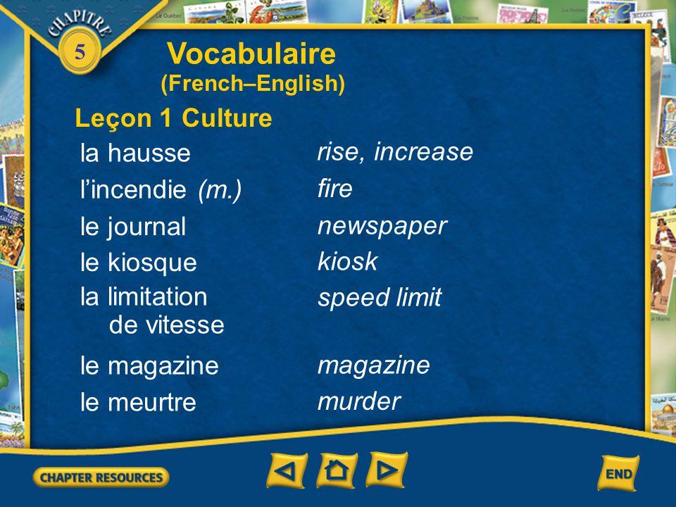 5 Vocabulaire l'actualité (f.) news Leçon 1 Culture l'auditeur(trice) de radio radio listener le cambriolage burglary le/la cambrioleur(euse) burglar