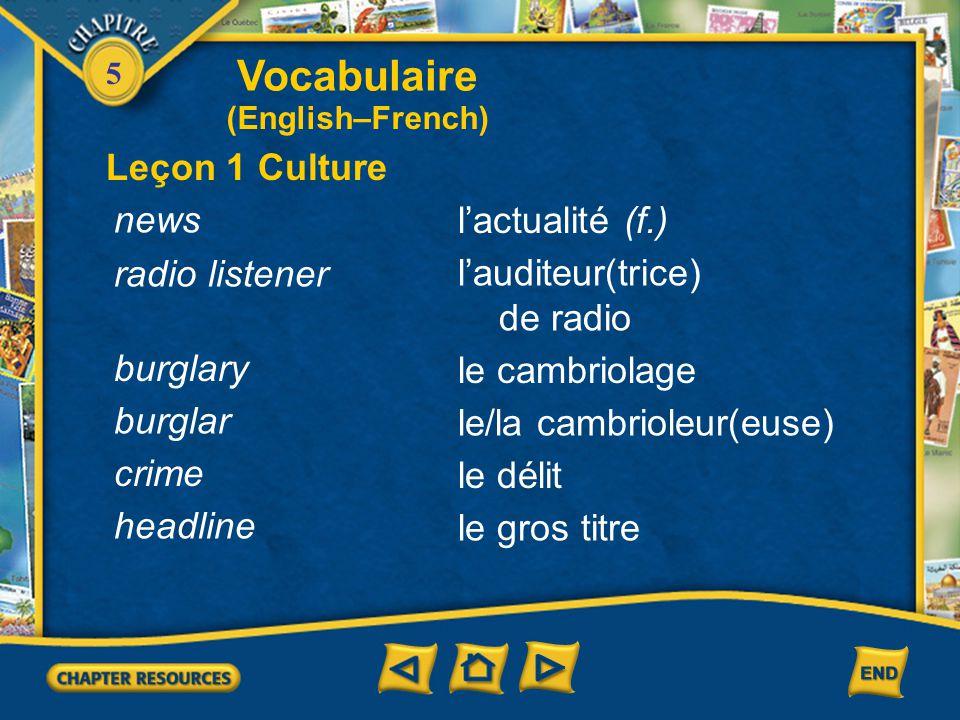 5 Vocabulaire Leçon 3 Journalisme (French–English) se précipiter vers to rush toward sembler to seem, appear