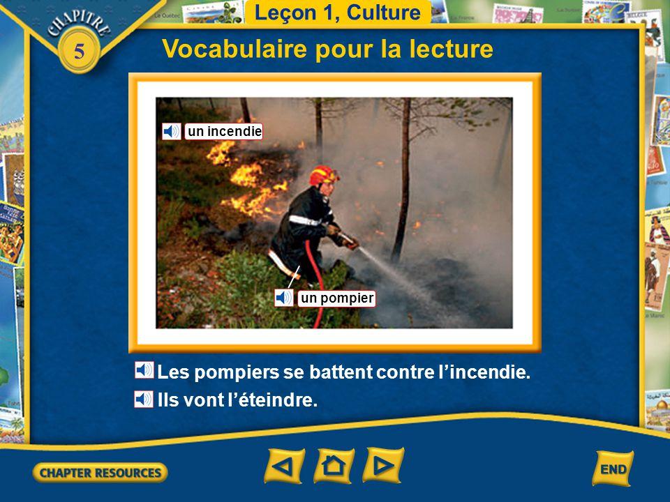 5 Leçon 1, Culture Vocabulaire pour la lecture un cambrioleur une vitre Le cambrioleur a cassé une vitre de la fenêtre. Il l'a cassée pour entrer dans