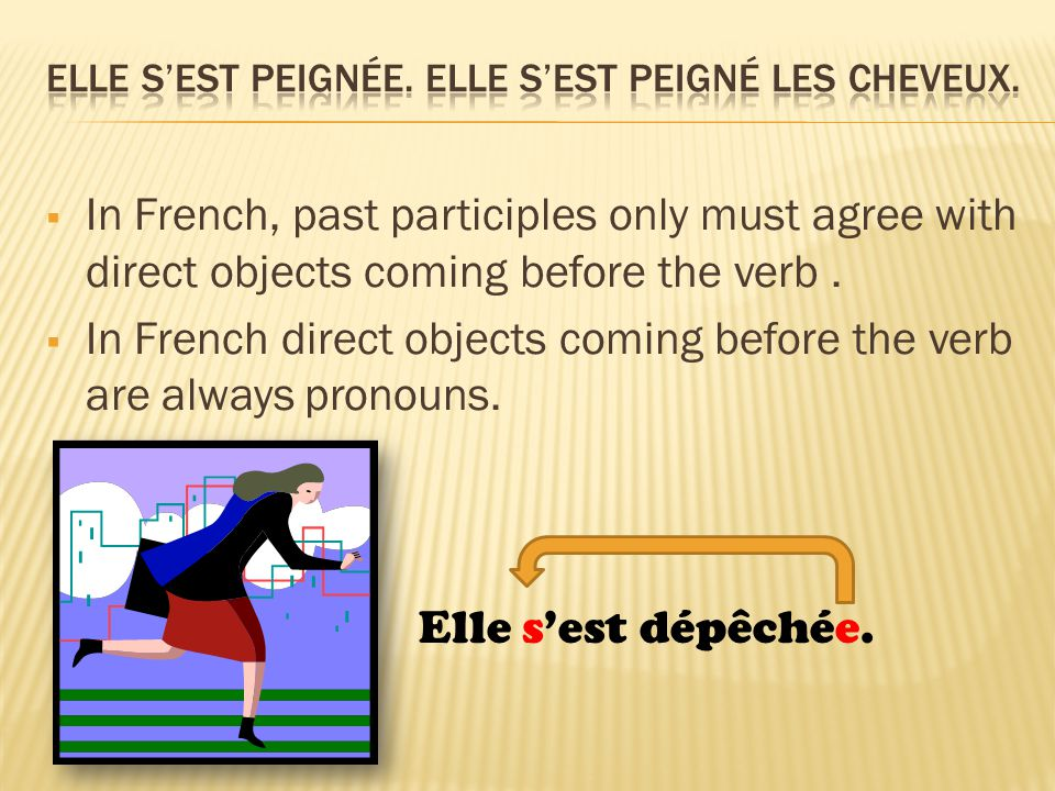  In French, past participles only must agree with direct objects coming before the verb.