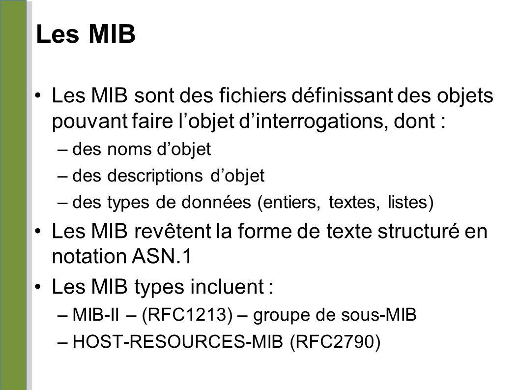 Les MIB Les MIB sont des fichiers définissant des objets pouvant faire l'objet d'interrogations, dont : –des noms d'objet –des descriptions d'objet –d