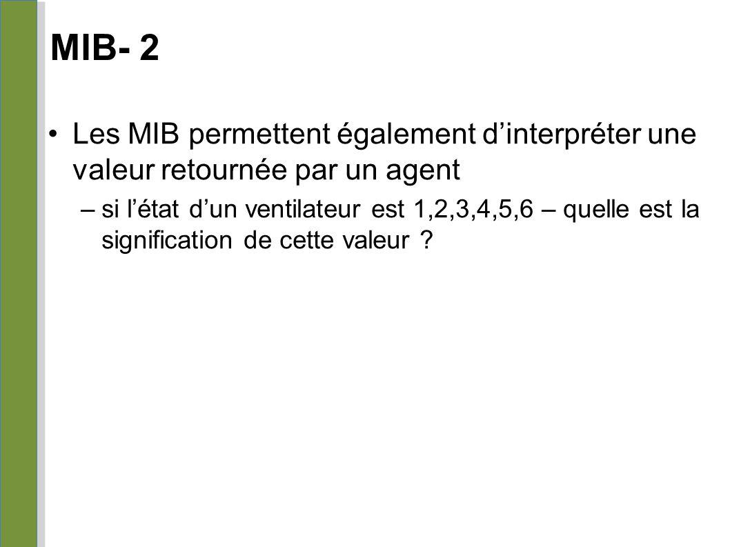 MIB- 2 Les MIB permettent également d'interpréter une valeur retournée par un agent –si l'état d'un ventilateur est 1,2,3,4,5,6 – quelle est la signif