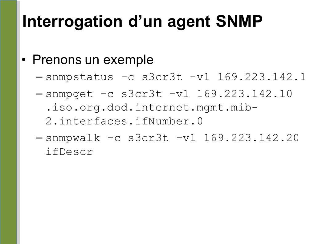 Interrogation d'un agent SNMP Prenons un exemple – snmpstatus -c s3cr3t -v1 169.223.142.1 – snmpget -c s3cr3t -v1 169.223.142.10.iso.org.dod.internet.