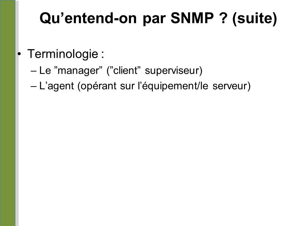 """Qu'entend-on par SNMP ? (suite) Terminologie : –Le """"manager"""" (""""client"""" superviseur) –L'agent (opérant sur l'équipement/le serveur)"""