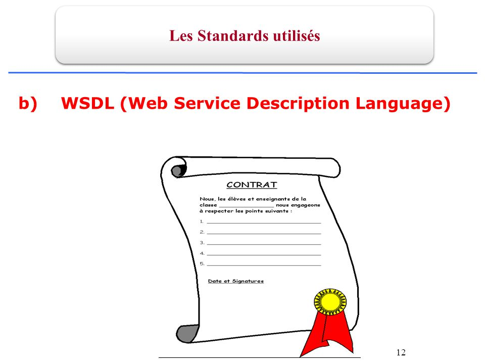 12 b) WSDL (Web Service Description Language) Les Standards utilisés