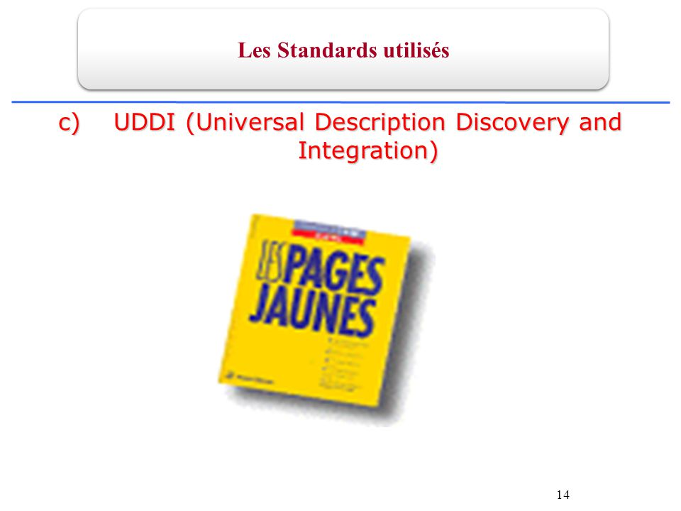 14 c)UDDI (Universal Description Discovery and Integration) Les Standards utilisés