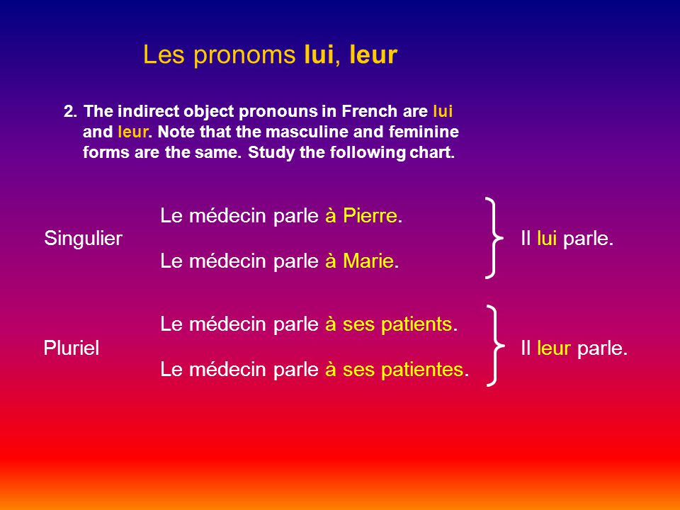 Les pronoms lui, leur 2. The indirect object pronouns in French are lui and leur.