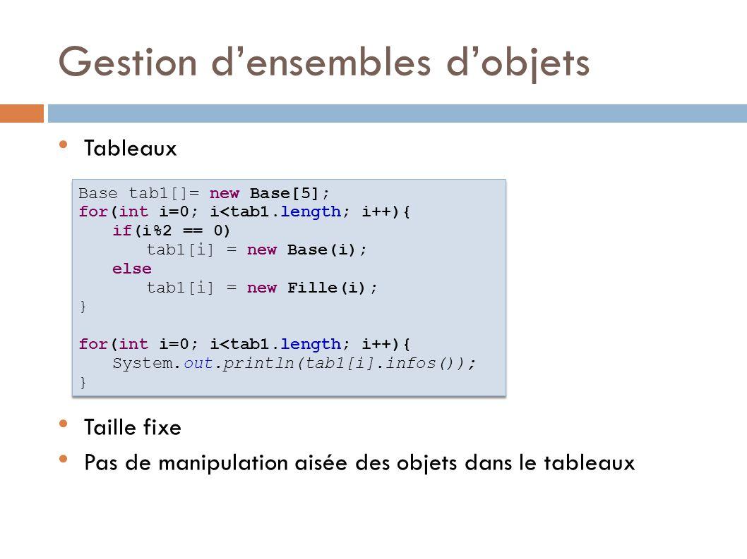Tableaux d'objets On peut mettre n'importe quoi dedans Mais il faut caster pour accéder aux méthodes Exception possible à l'exécution Object tab2[]= new Object[5]; for(int i=0; i<tab2.length; i++){ if(i%2 == 0) tab2[i] = new Base(i); else tab2[i] = new Fille(i); } // tab1[0] = new Object(); for(int i=0; i<tab1.length; i++){ System.out.println(((Base)tab2[i]).infos()); } Object tab2[]= new Object[5]; for(int i=0; i<tab2.length; i++){ if(i%2 == 0) tab2[i] = new Base(i); else tab2[i] = new Fille(i); } // tab1[0] = new Object(); for(int i=0; i<tab1.length; i++){ System.out.println(((Base)tab2[i]).infos()); }