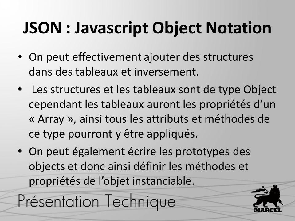 JSON : Javascript Object Notation On peut effectivement ajouter des structures dans des tableaux et inversement. Les structures et les tableaux sont d