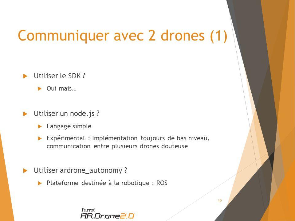 Communiquer avec 2 drones (1)  Utiliser le SDK .  Oui mais…  Utiliser un node.js .